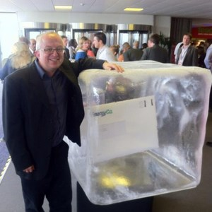 David Ellesmere with a block of ice