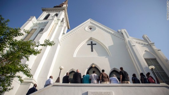 People line up to enter the Emanuel African Methodist Episcopal Church in Charleston, South Carolina